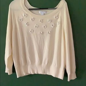 Ashley Nell Tipton cream embellished sweater 2X